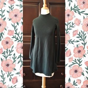 Green mock turtle neck dress